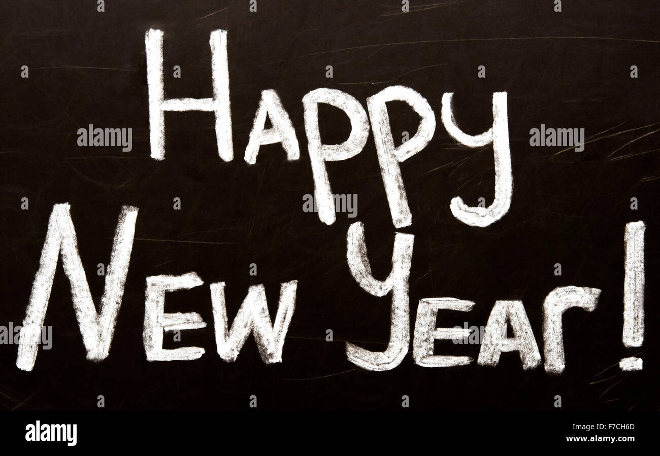 Happy new year message greeting handwriting on a blackboard stock happy new year message greeting handwriting on a blackboard m4hsunfo