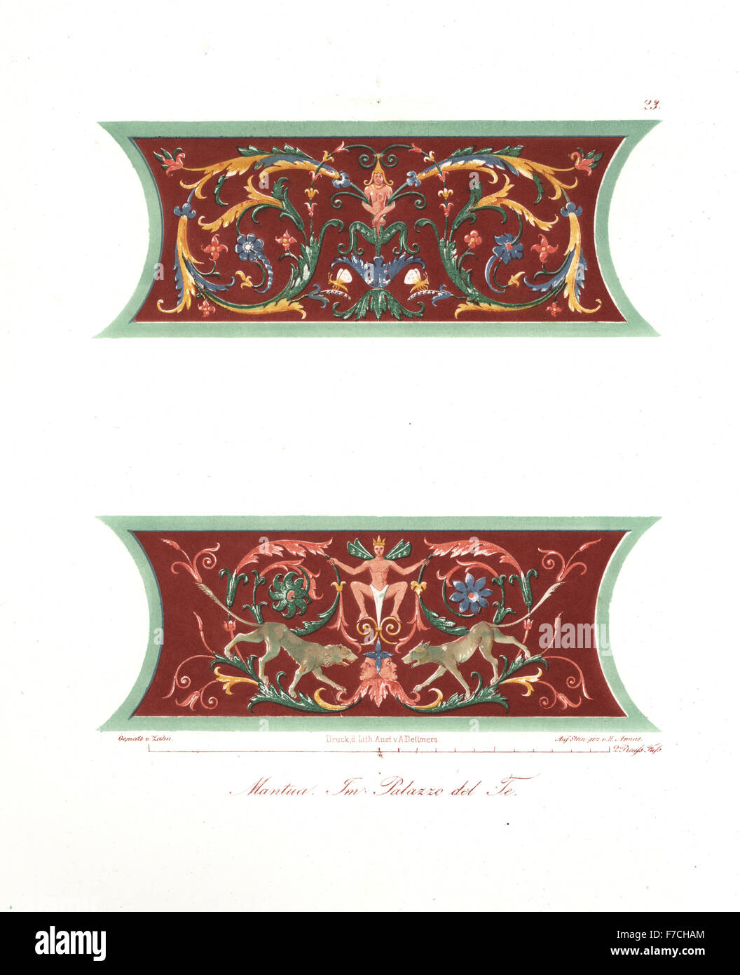 Wall paintings from the Palazzo del Te, Mantua, Italy. Handcoloured lithograph by H. Asmus after an illustration - Stock Image