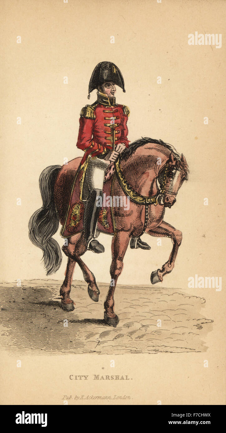 City Marshal of London in cocked hat, scarlet jacket, white breeches, boots, on horseback. Handcoloured copperplate - Stock Image