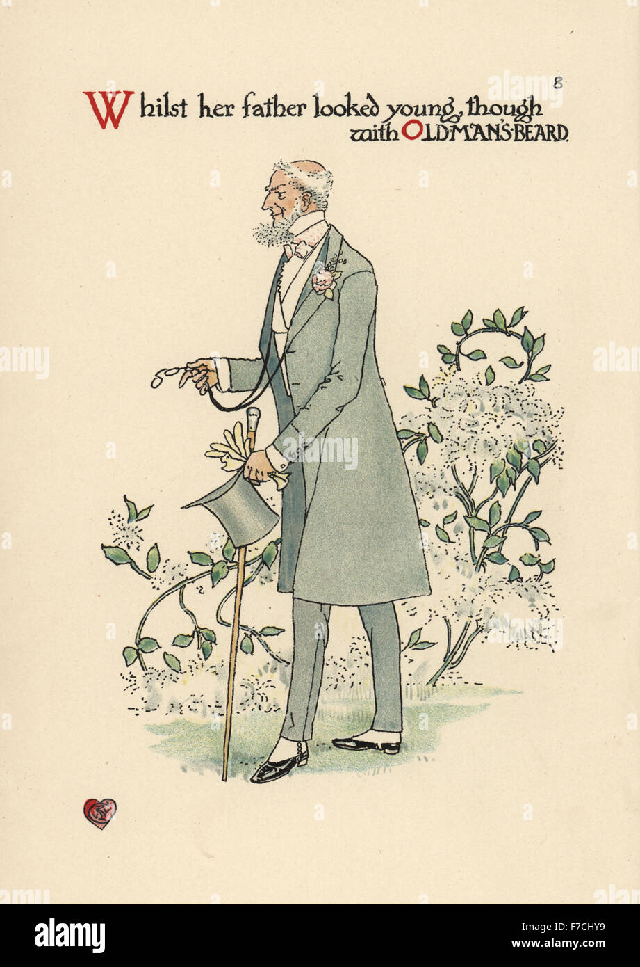 Flower fairy of old man's beard, Clematis vitalba. Chromolithograph after an illustration by Walter Crane from - Stock Image