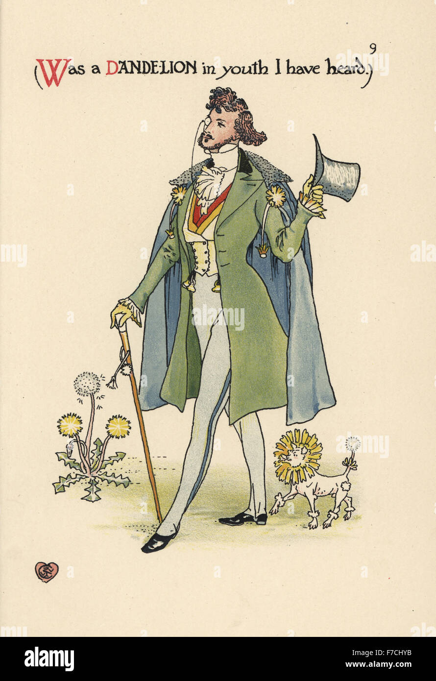 Flower fairy of a dandelion, Taraxacum officinale, as a fashionable young dandy with poodle. Chromolithograph after - Stock Image