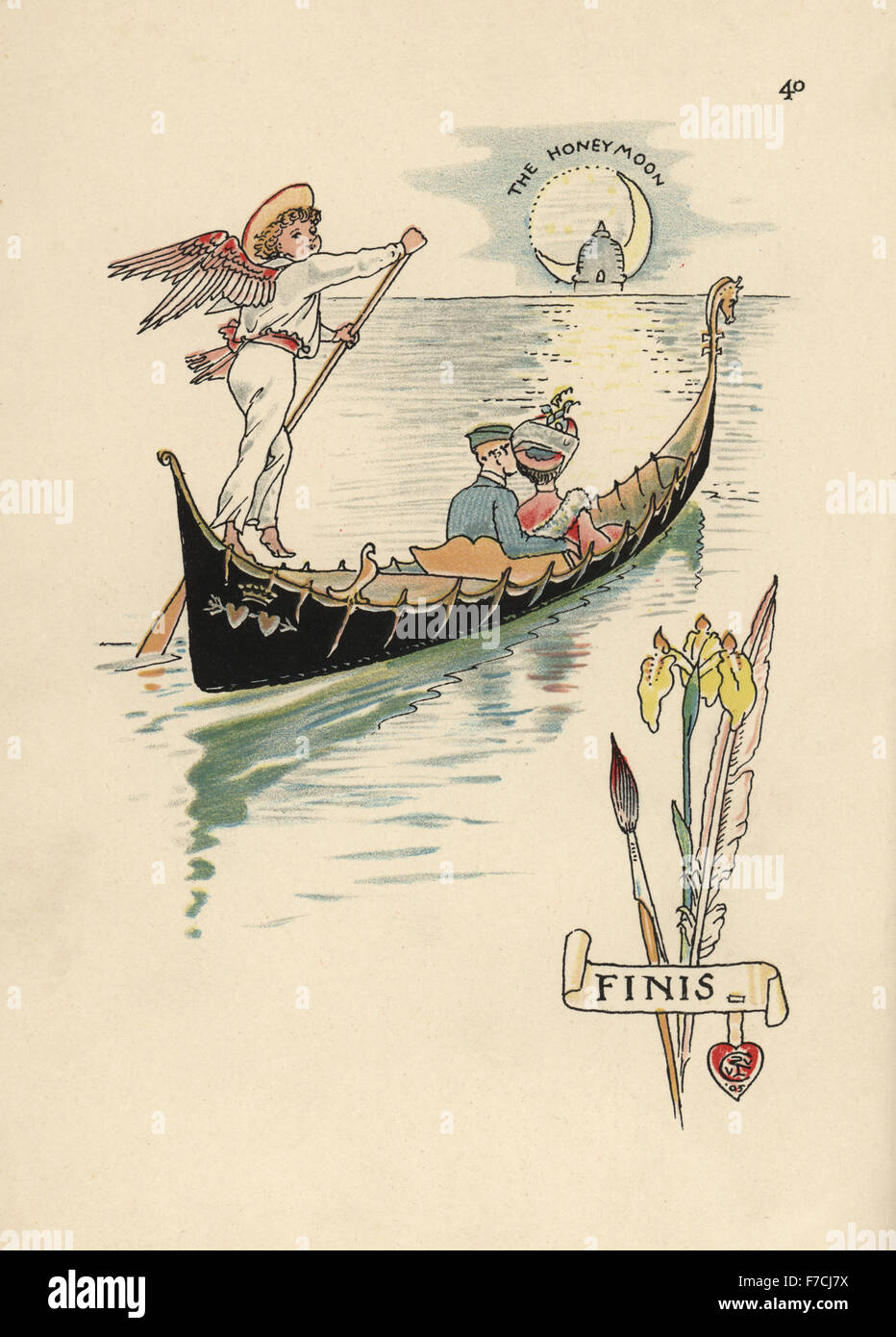 Flower fairy newlyweds on a gondola with Cupid as oarsman heading to their honeymoon. Chromolithograph after an - Stock Image