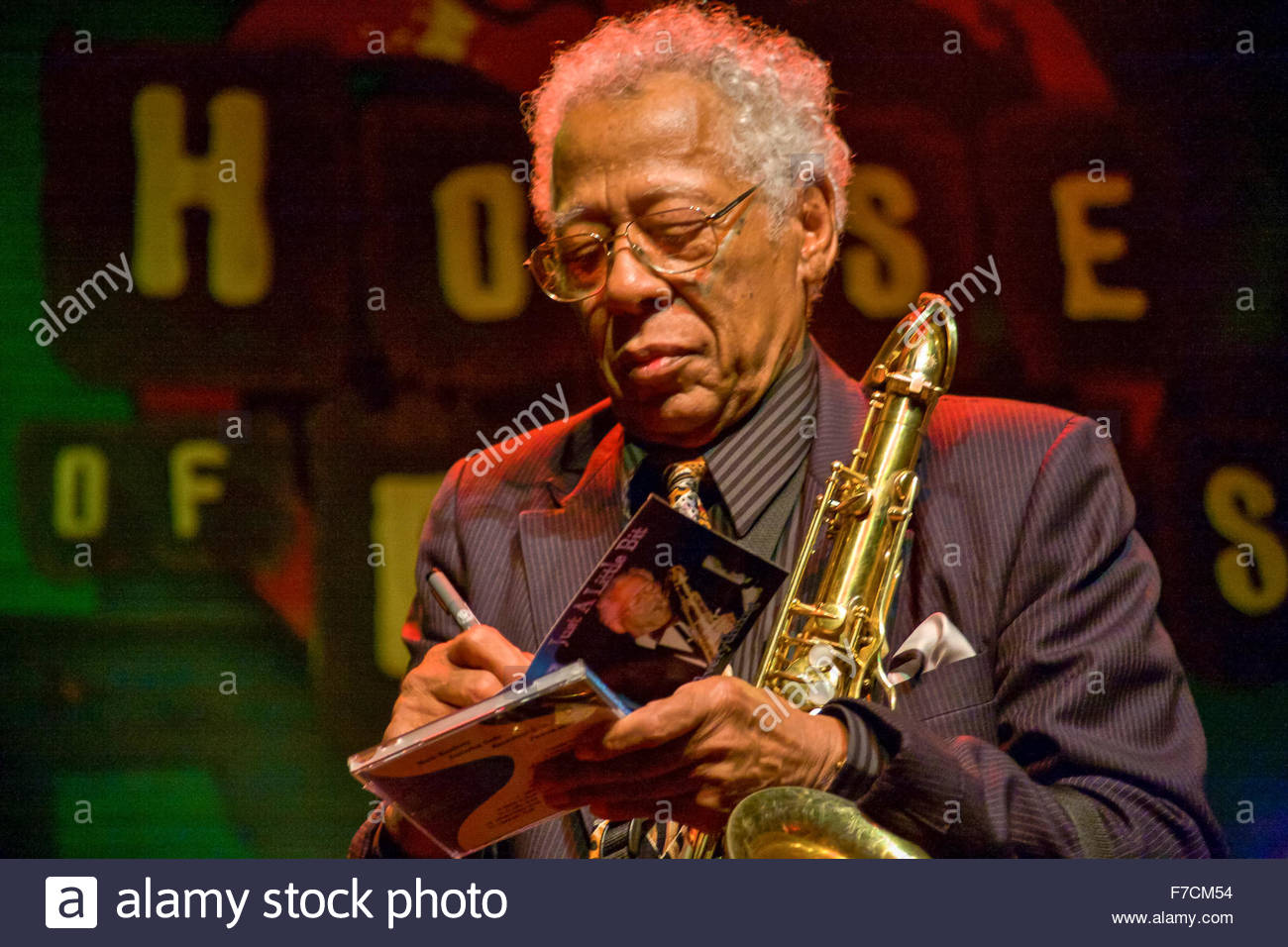 Musician Herbert Hardesty, performing at the House of Blues on January 27, 2007 in New Orleans, Louisiana, USA - Stock Image