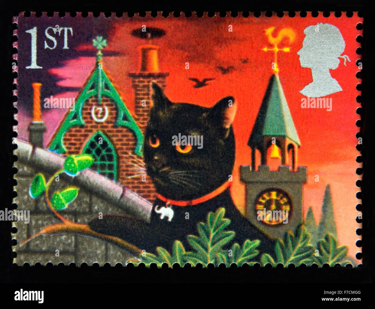Postage stamp. Great Britain. Queen Elizabeth II. 1991. Greetings Stamps, 'Good Luck'. Black Cat. - Stock Image
