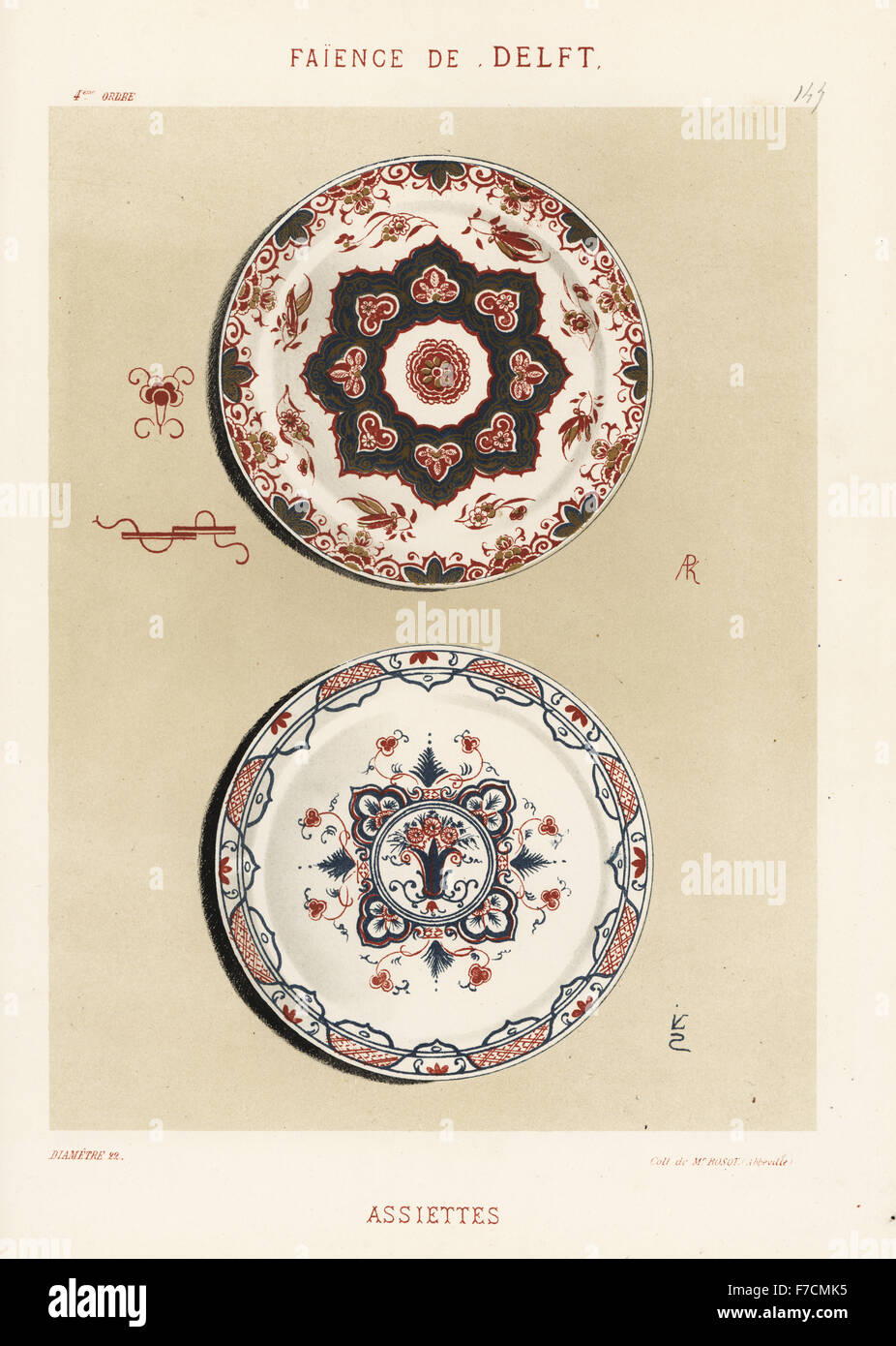 Plates from Delft, Netherlands, 18th century. Hand-finished chromolithograph from Ris Paquot's General History - Stock Image