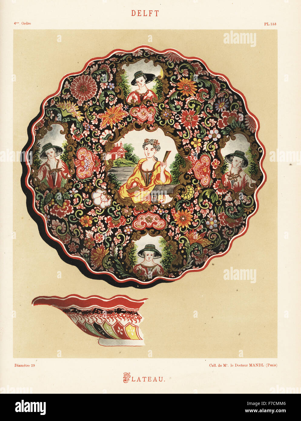 Platter from Delft, Netherlands, 18th century, with portraits of women within a floral pattern. Hand-finished chromolithograph - Stock Image