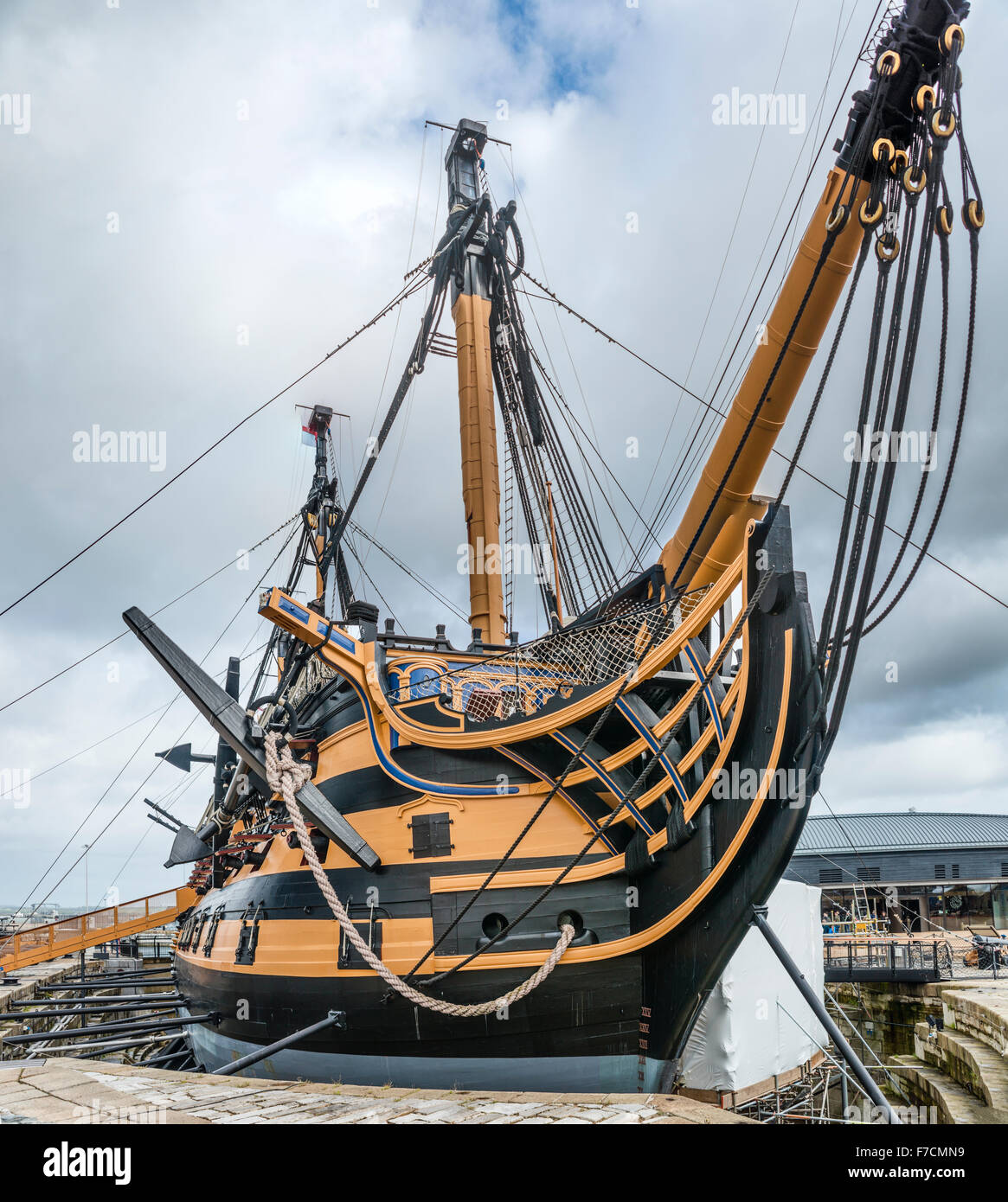 HMS Victory is a first rate ship of the line of the Royal Navy, Historical Dockyard Museum, Portsmouth, Hampshire, Stock Photo