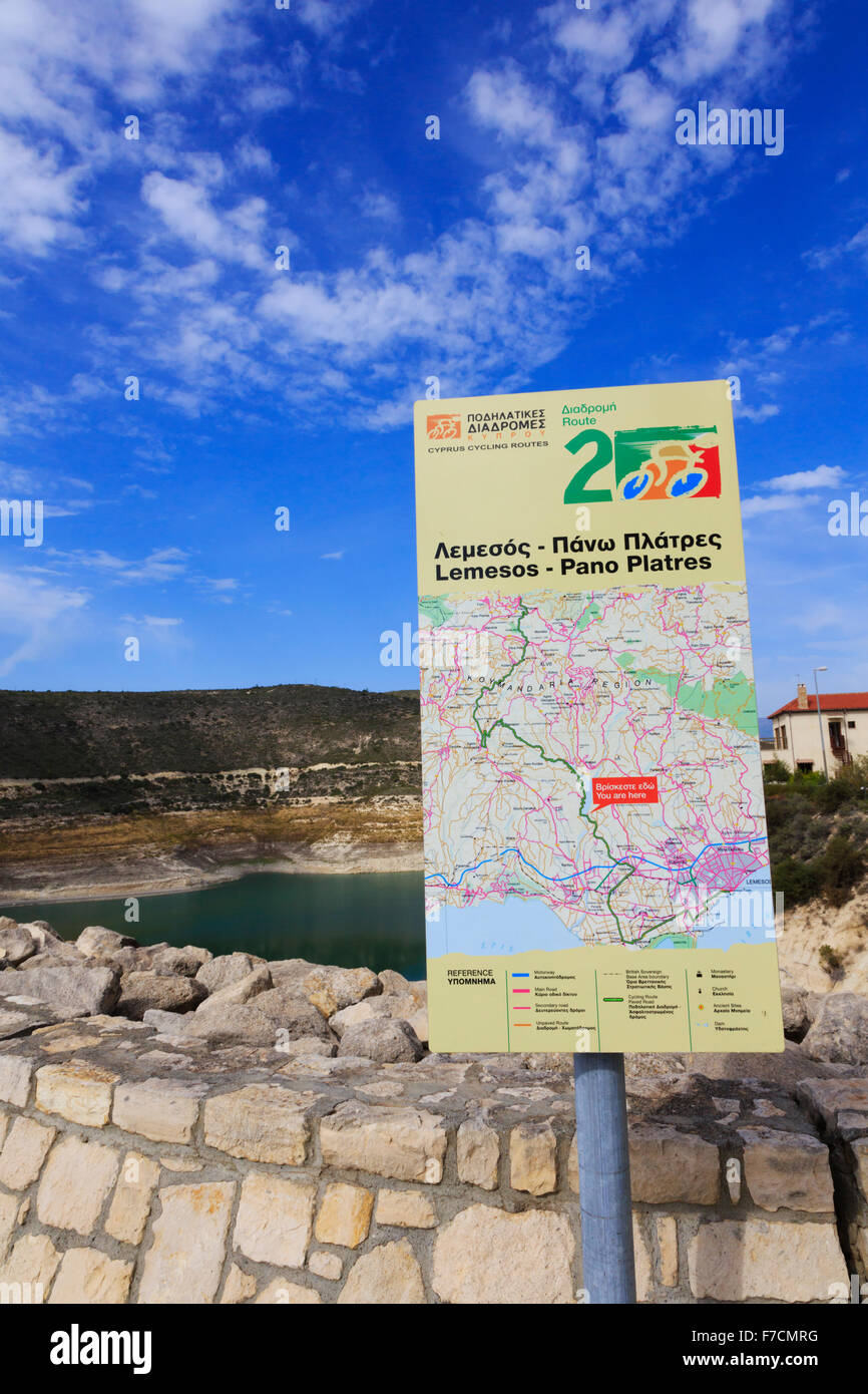 Sign showing cycle routes at Kouris Dam, Limassol, Cyprus. - Stock Image