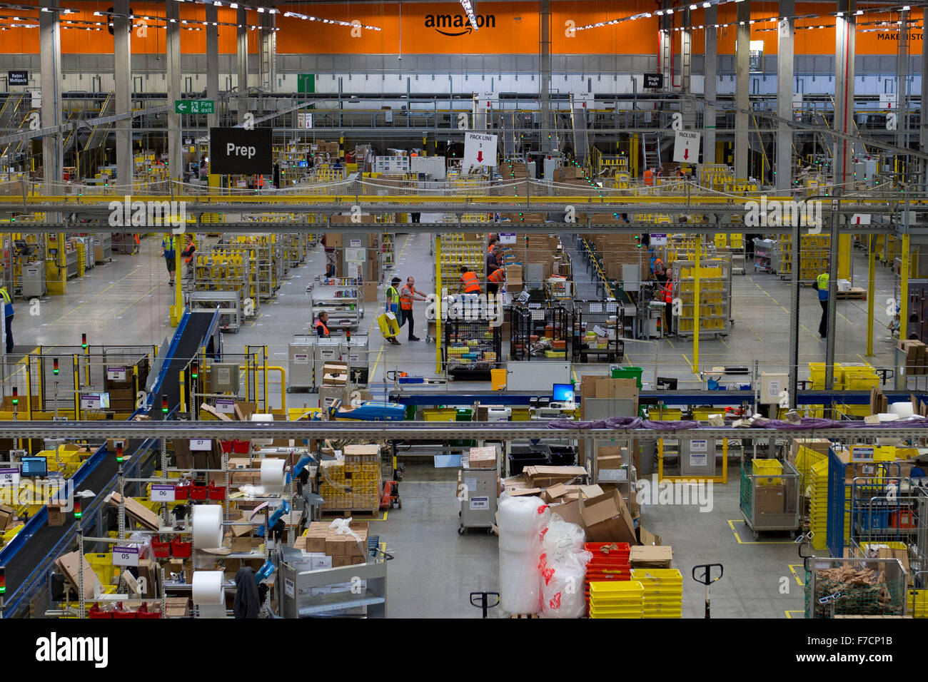 The Amazon warehouse fulfillment centre in Swansea, South Wales. Amazon have hired an number of extra staff for - Stock Image