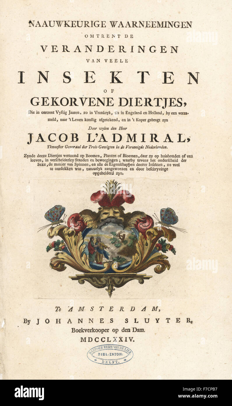 Title page with vignette of escutcheon. Handcoloured copperplate engraving drawn and etched by Jacob l'Admiral - Stock Image
