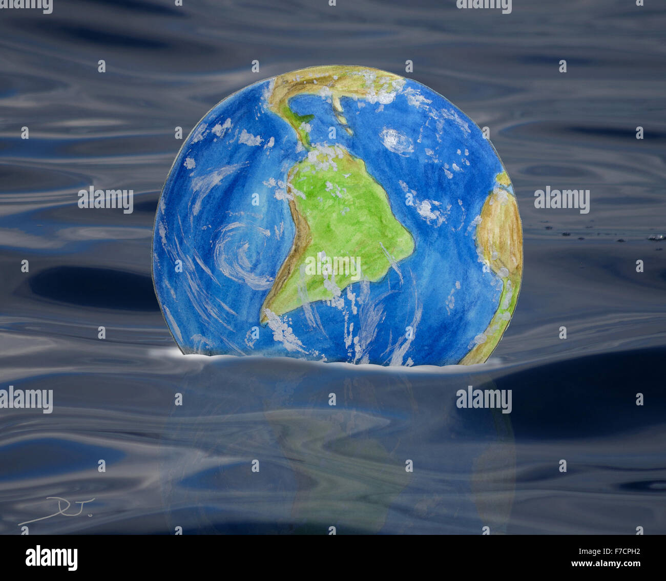 Earth is drowning - Stock Image