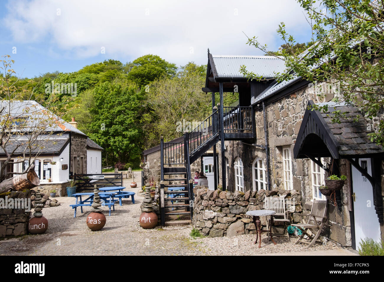 The Cafe@Calgary Arts courtyard. Calgary by Dervaig, Isle of Mull, Argyll & Bute, Inner Hebrides, Western Isles, - Stock Image