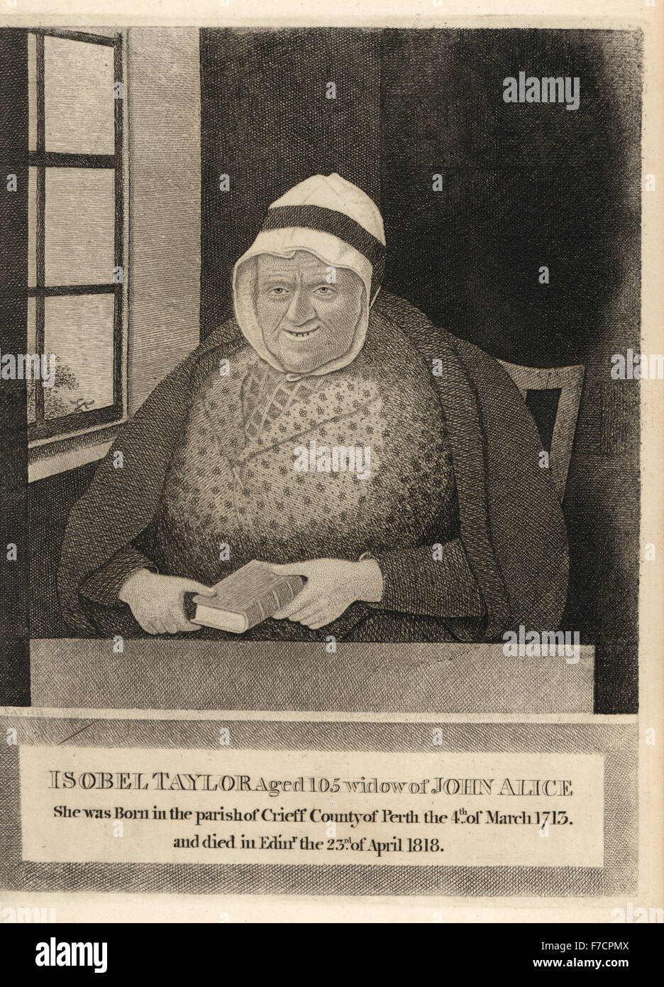 Isobel Taylor, old widow Ellis, lived to the age of 105. Copperplate engraving by John Kay from A Series of Original - Stock Image