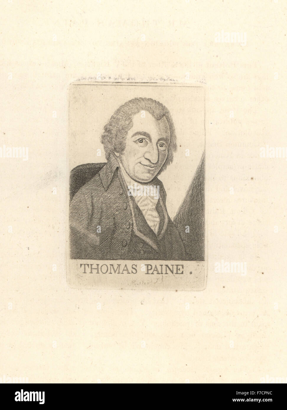 Thomas Paine, author of the Rights of Man, and secretary for foreign affairs to the American Congress. Copperplate - Stock Image