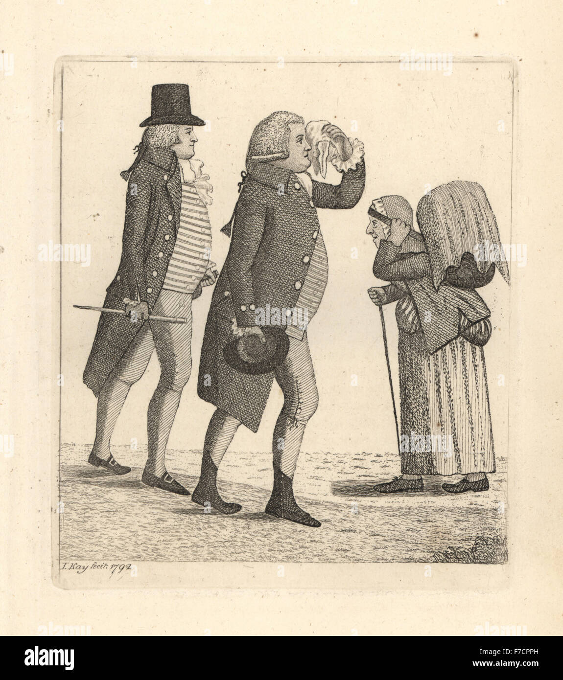 Edward Innes and James Cooper losing the bet to Hamilton Bell. Copperplate engraving by John Kay from A Series of - Stock Image