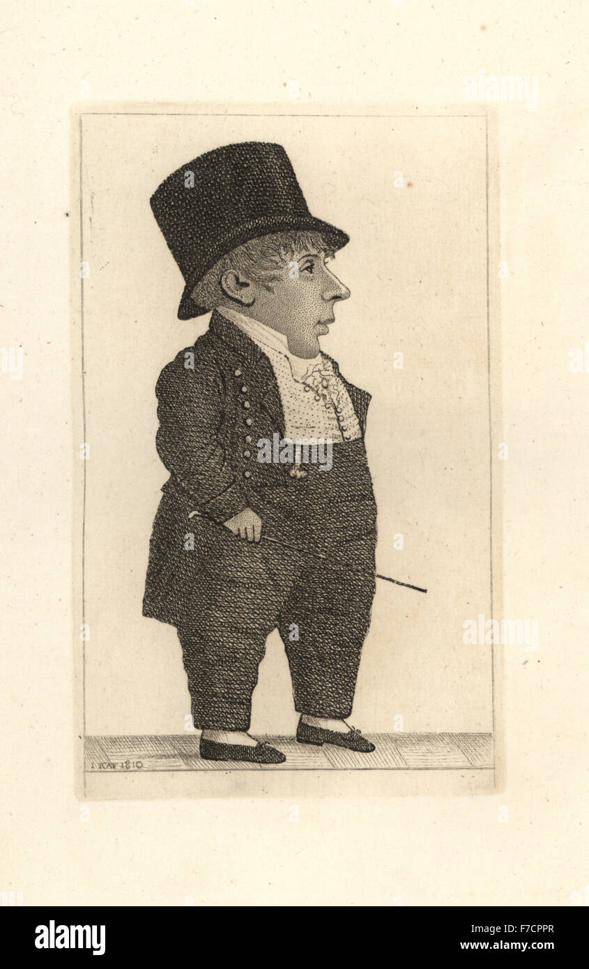 Hugh MacPherson, wee Hughie, clerk to the Perth carriers. A miniature dandy with a quick temper. Copperplate engraving - Stock Image