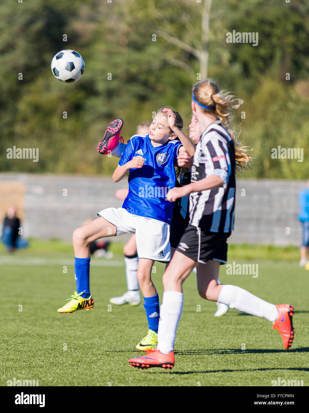 Swedish girls youth club football match between Floda BOIF and Lindome GIF at Lindevi IP  Model Release: No.  Property - Stock Image