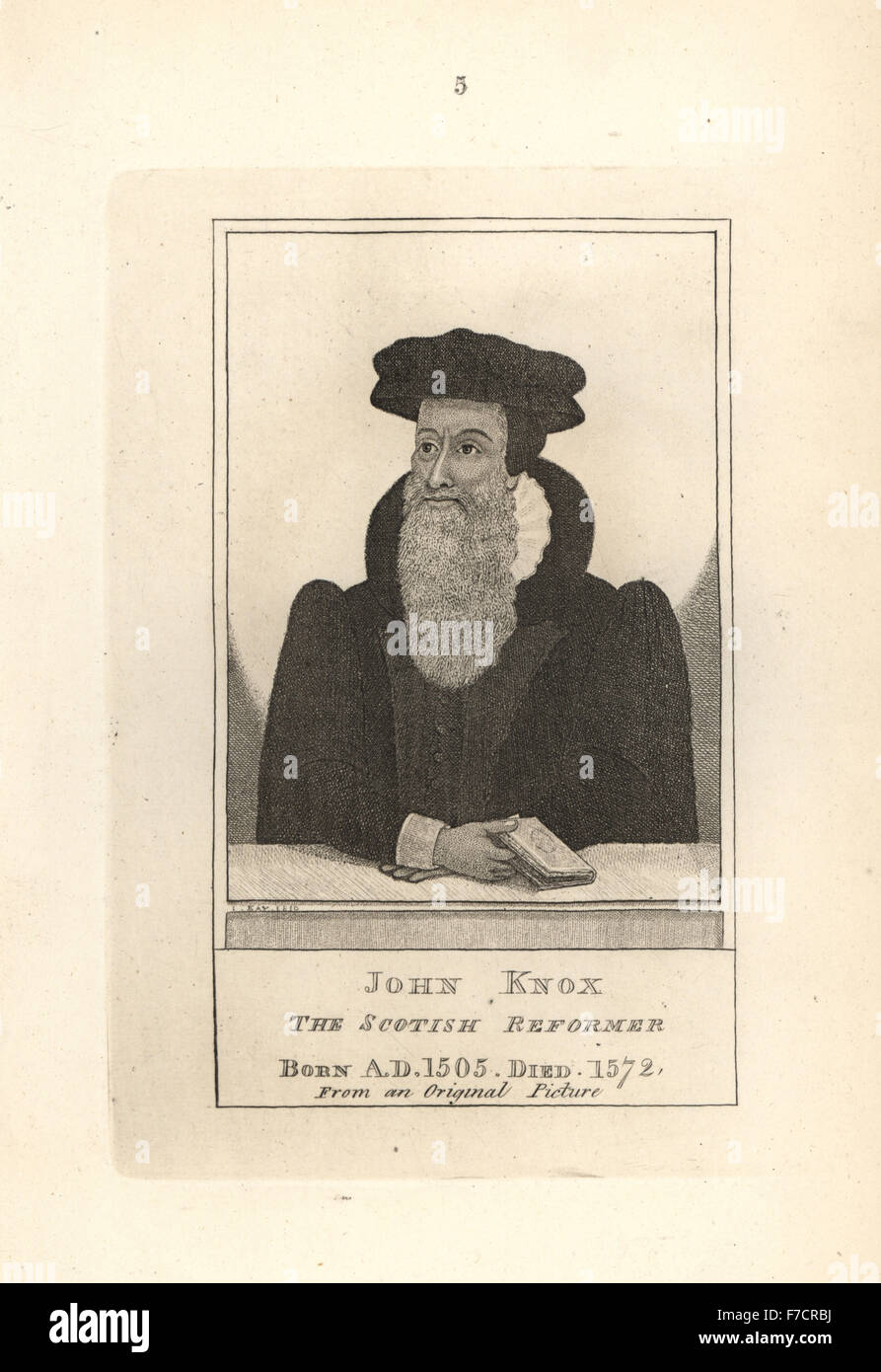John Knox, the Scottish Reformer, from an original painting. Copperplate engraving by John Kay from A Series of - Stock Image