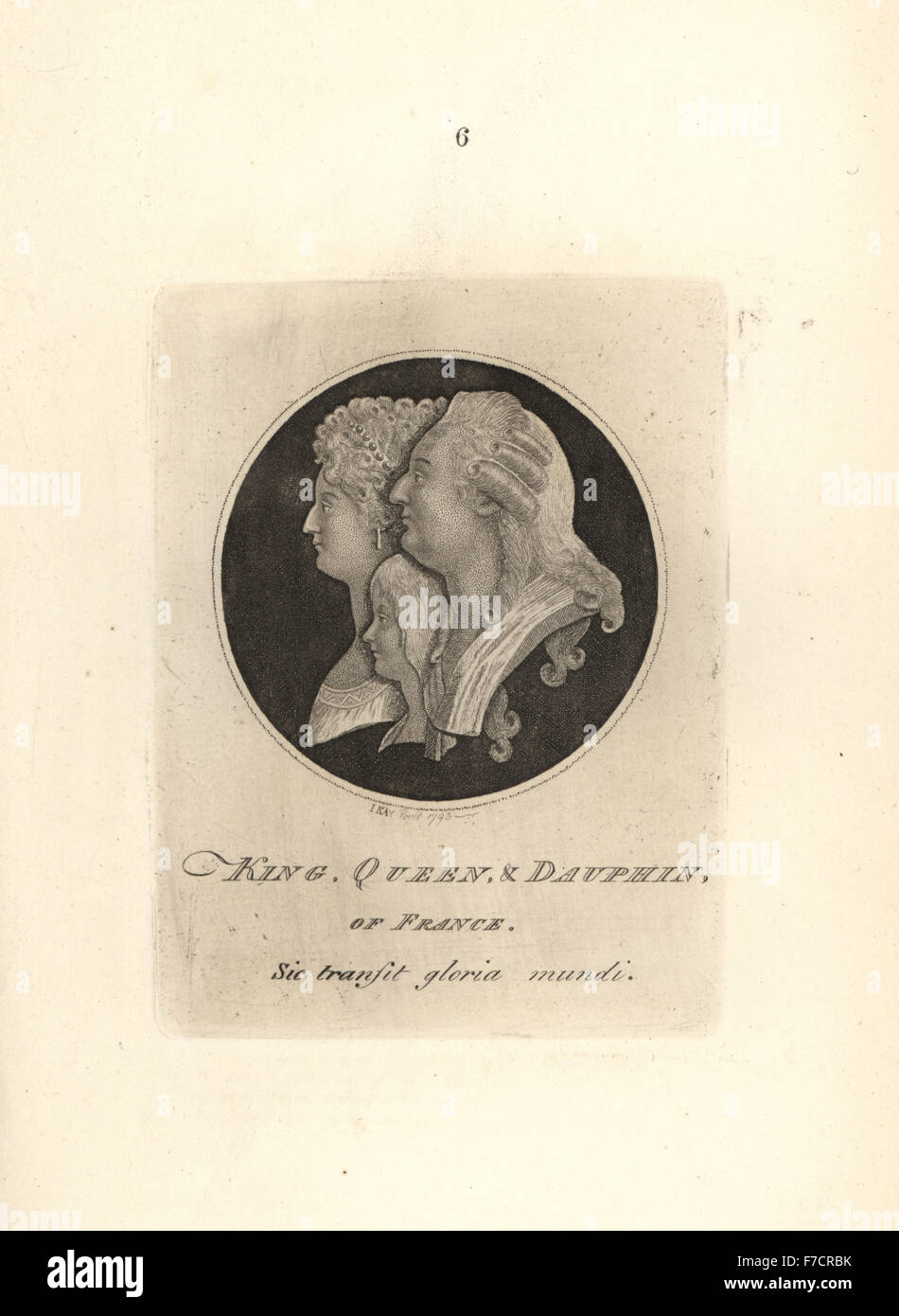 King Louis XVI, Marie Antoinette and the Dauphin, copied from the lid of a French snuff box. Copperplate engraving - Stock Image