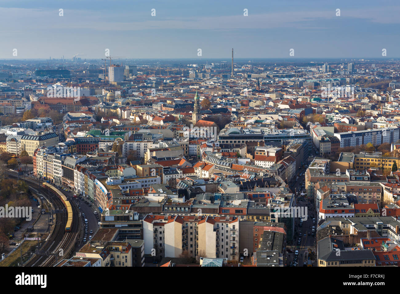 Aerial view of Berlin from Alexanderplatz - Stock Image