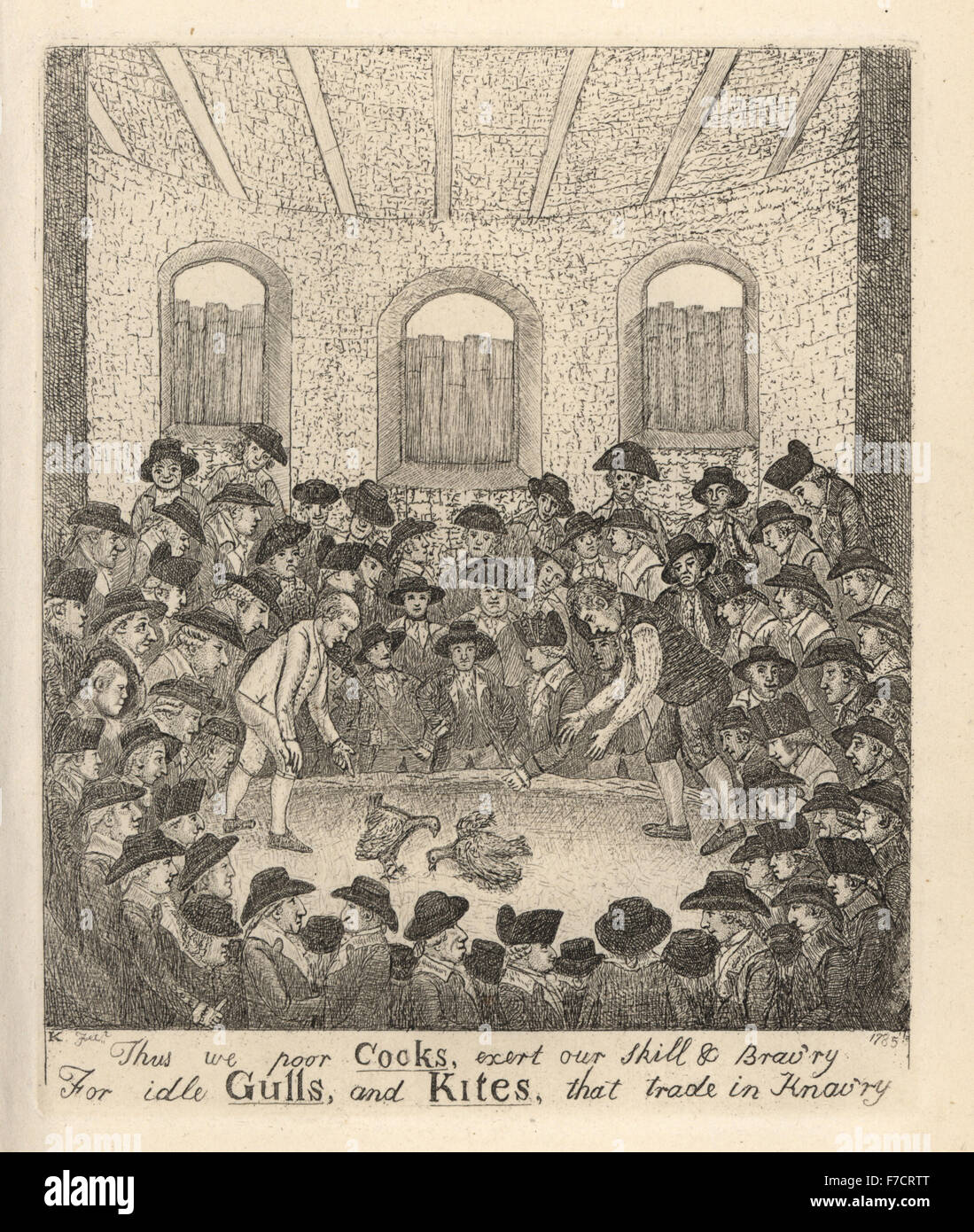 Cockfighting match between Lanark and Haddington counties, 1785, in front of an audience of nobles and knaves including - Stock Image