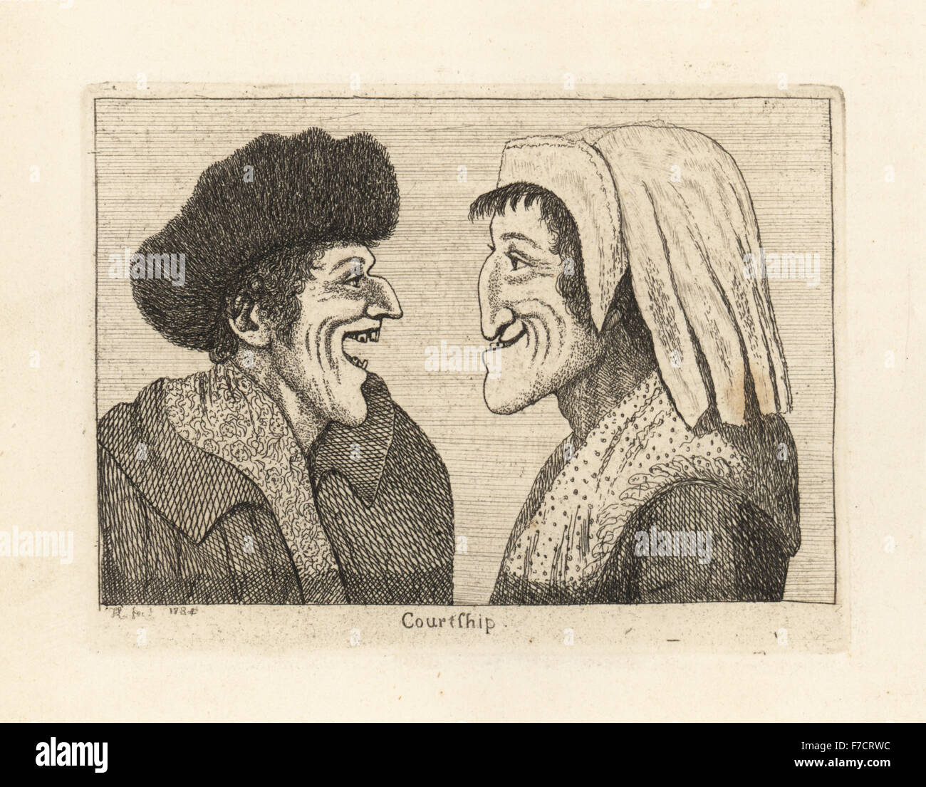 Caricature of a courtship between two lovers. The woman based on an old woman who lived at the head of Canongate. - Stock Image