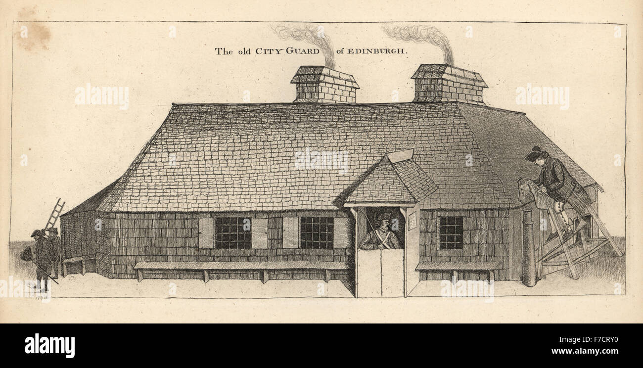 The City Guard-house of Edinburgh, with Corporal John Dhu in the half-door, razed to the ground in 1785. Punishment - Stock Image