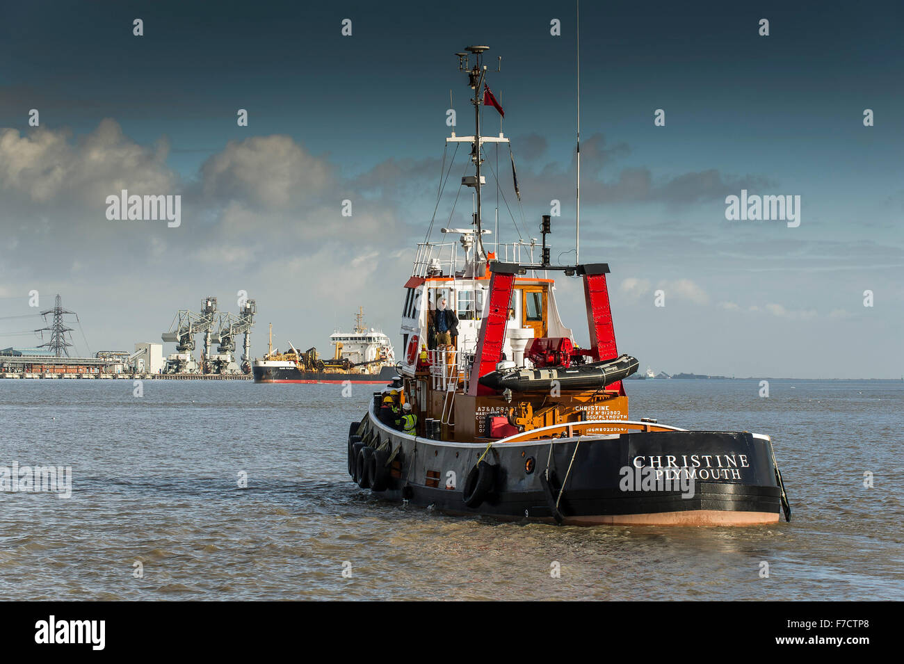 The Tug, Christine leaves Gravesend and steams out into the River Thames. - Stock Image