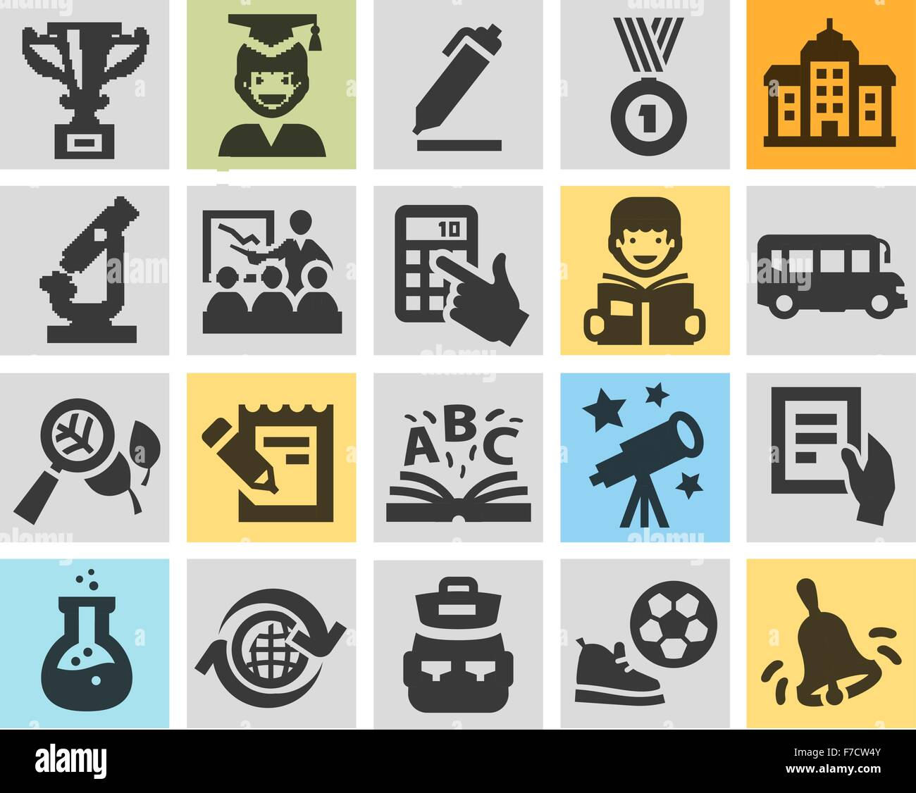 School Education Set Black Icons Signs And Symbols Stock Vector