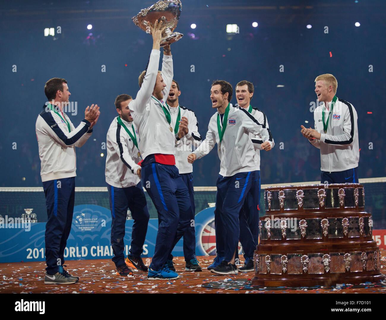 Gent, Belgium, November 29, 2015, Davis Cup Final, Belgium-Great Britain, day three, Andy Murray (GBR) celebrates - Stock Image