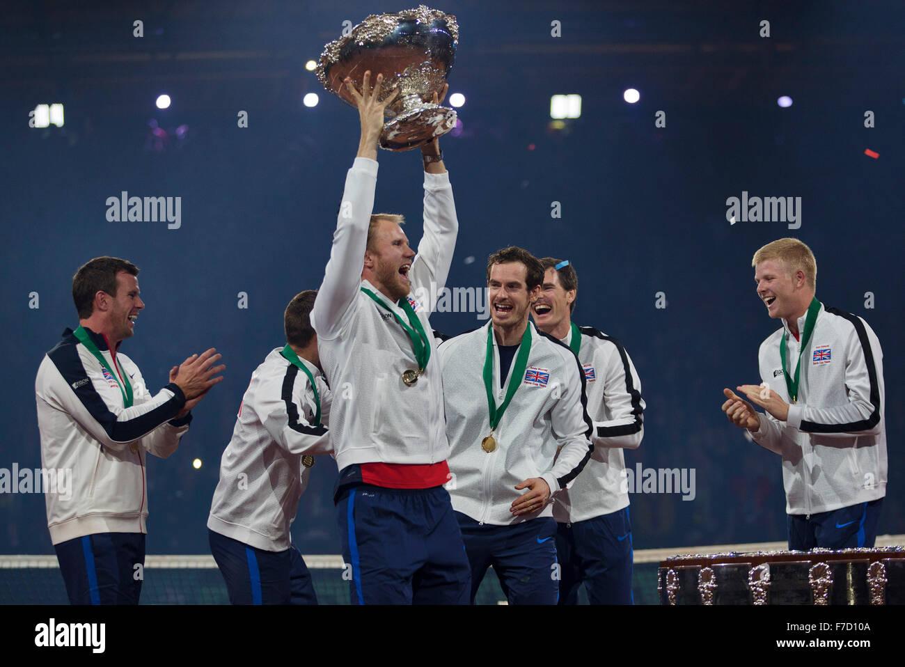 Gent, Belgium, November 29, 2015, Davis Cup Final, Belgium-Great Britain, day three, The Team of Great Britain celebrate - Stock Image
