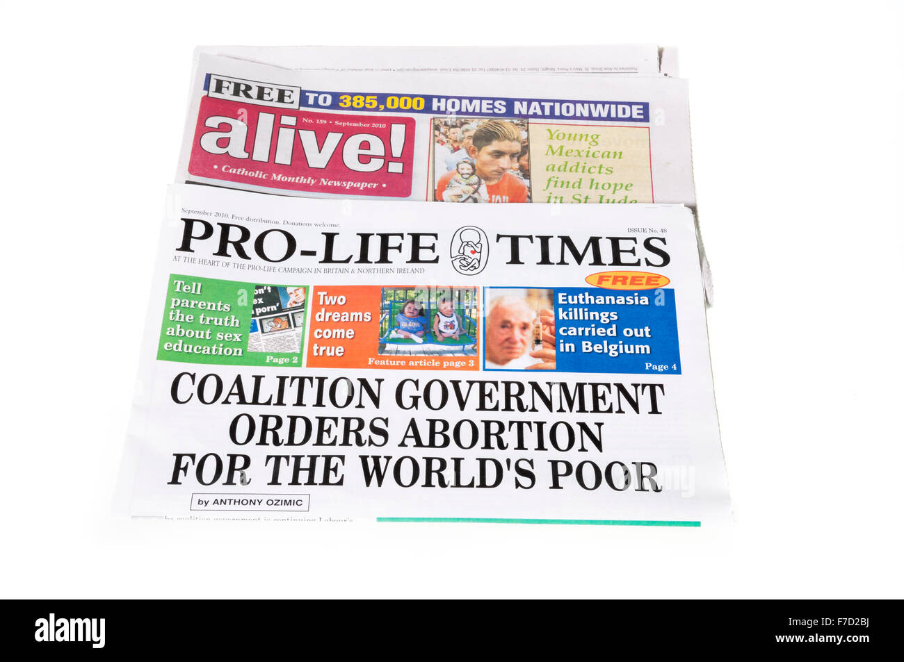 Pro-life anti-abortion newspapers 'Alive!', and 'Pro-life times' available and distributed within - Stock Image