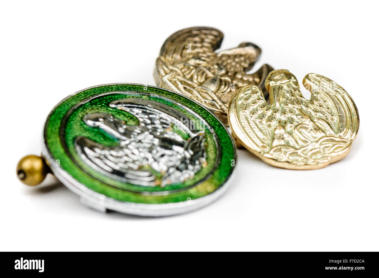 Closeup of a green, silver and gold pelican badges given for blood donation in the UK NHS. - Stock Image