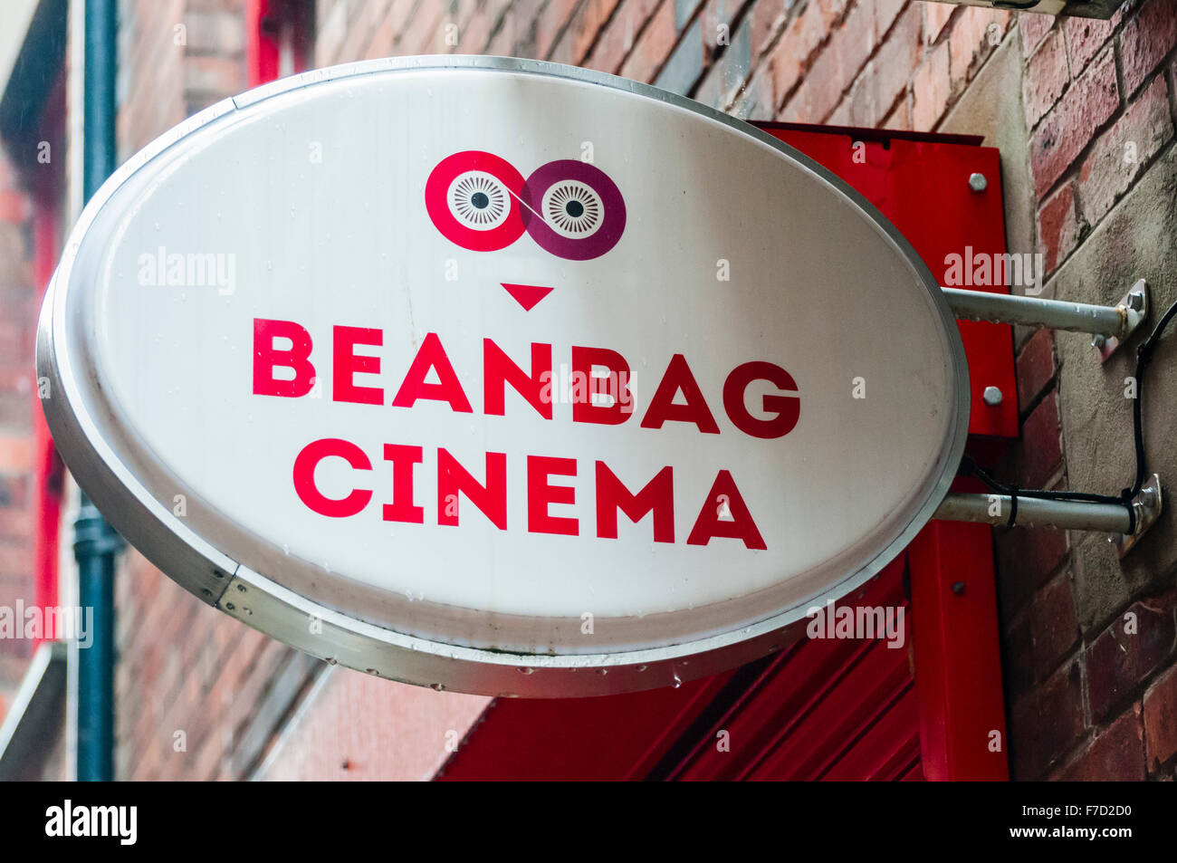 Sign for a 'Beanbag Cinema', a relaxed cinema showing films while customers relax on beanbags. - Stock Image