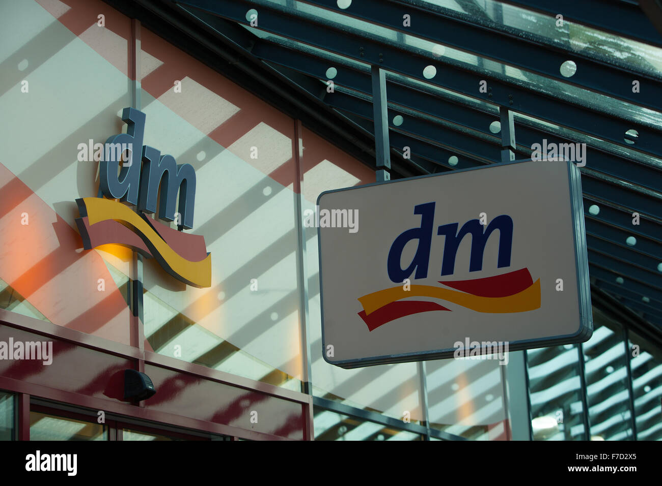 DM drogerie markt sign in Prague - Stock Image