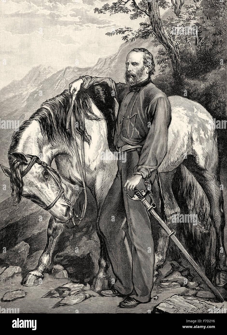Giuseppe Garibaldi, 1807 - 1882, an Italian guerrilla fighter and protagonist of the Risorgimento, - Stock Image