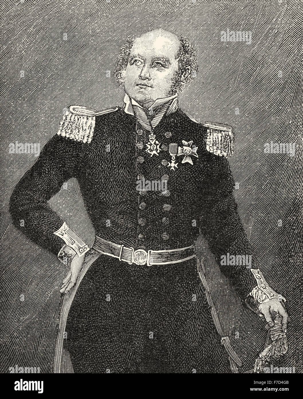 Rear-Admiral Sir John Franklin, 1786-1847, a British Royal Navy officer and explorer of the Arctic, - Stock Image