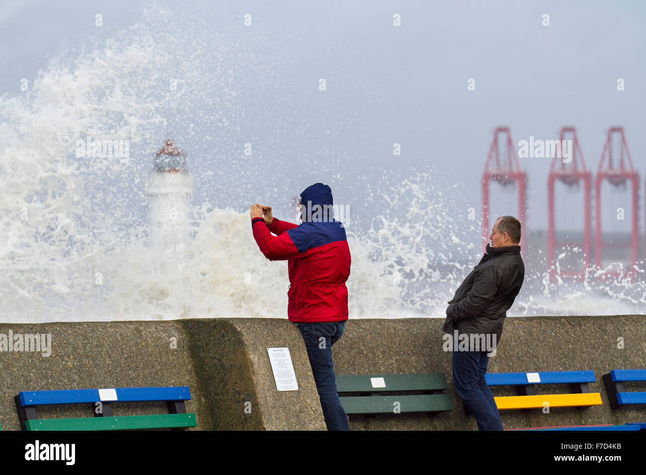 New Brighton, Wirral, UK 29th November, 2015. UK Weather  Fort Perch lighthouse_ Force winds lash North-west Coast - Stock Image