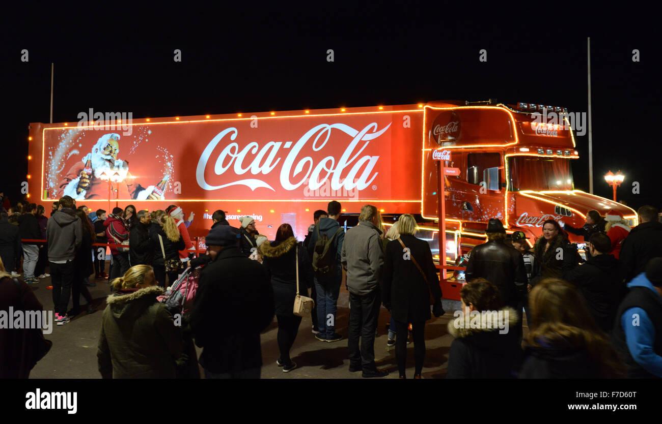 Coca-Cola Christmas Truck Tour, Britain, UK - Stock Image