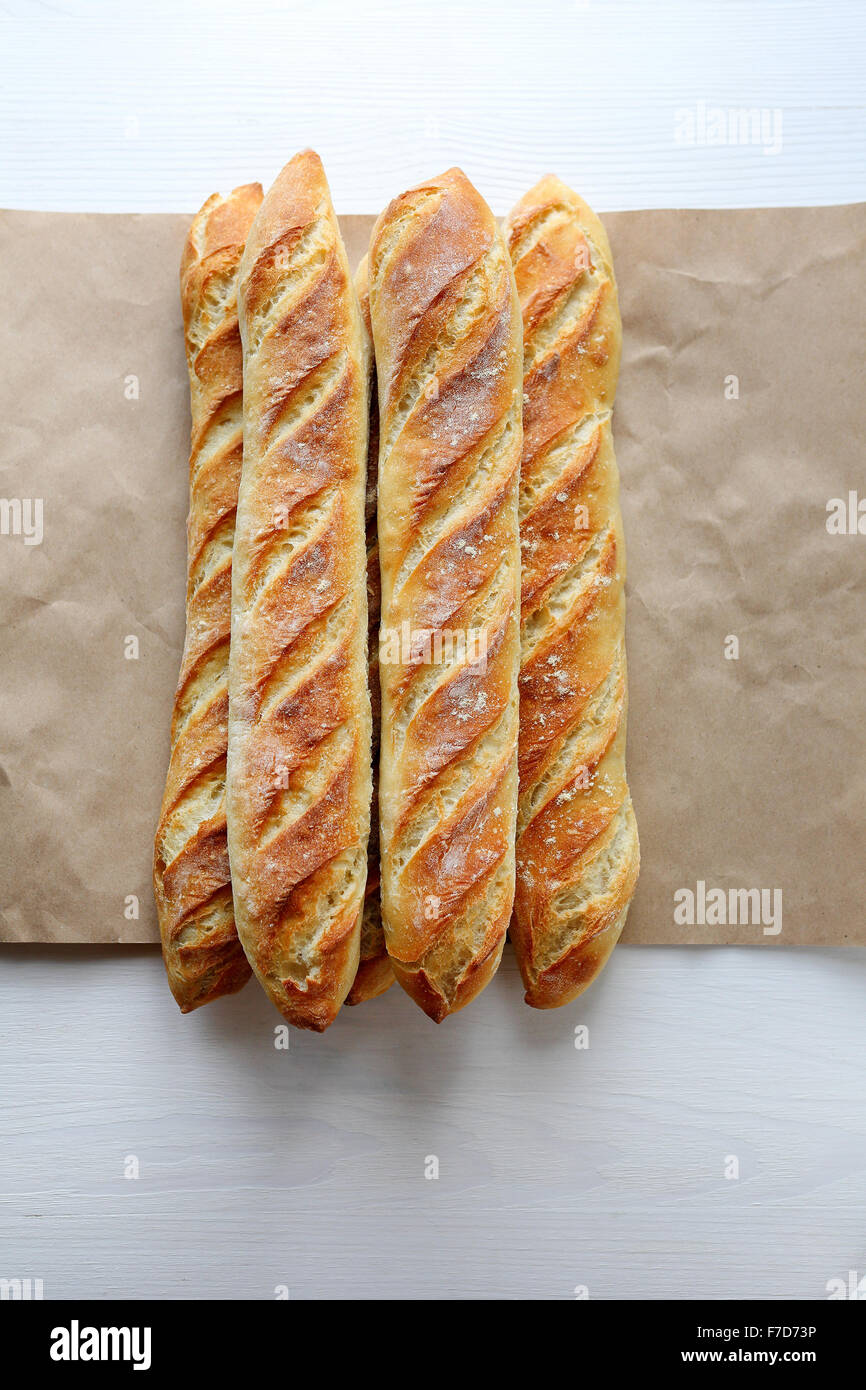 fresh french breads, top view - Stock Image