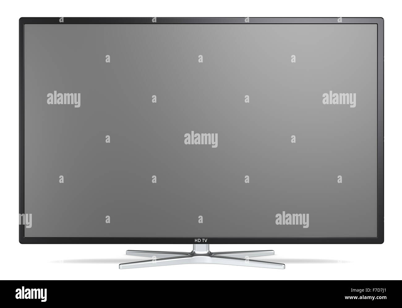Non branded Widescreen TV on metal stand. Black frame. Blank for copy space. - Stock Image