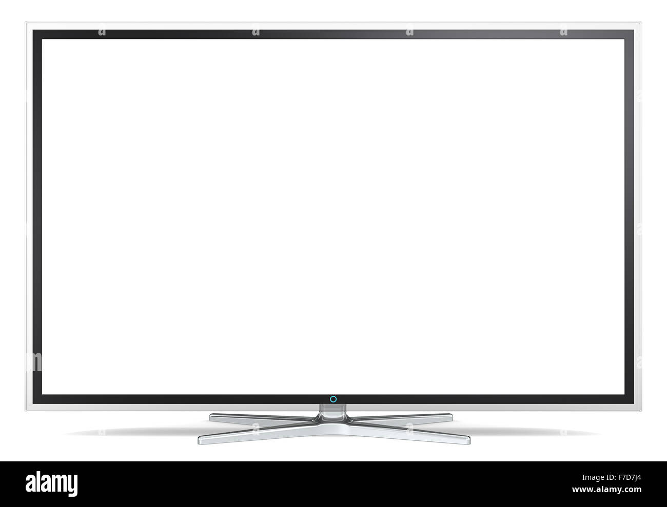 Non branded Widescreen TV on metal stand. Black and Glass frame. Blank for copy space. - Stock Image