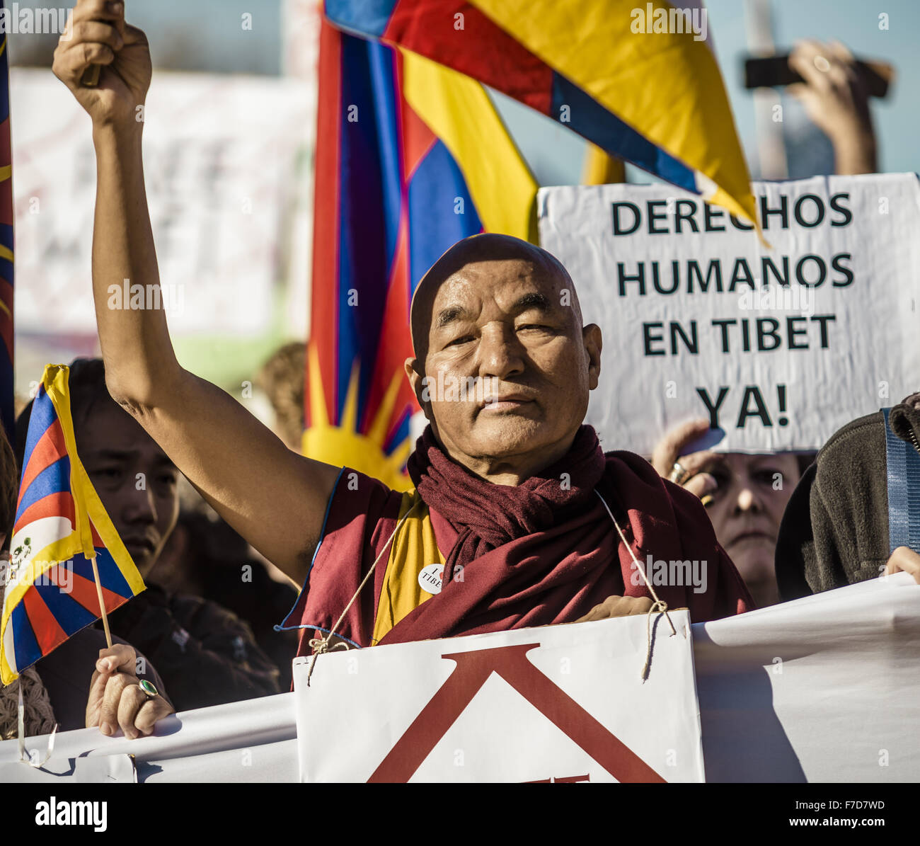 Nov. 29, 2015 - Barcelona, Catalonia, Spain - THUBTEN WANGCHEN, a Buddhist monk and founder of the 'Casa Tibet' - Stock Image