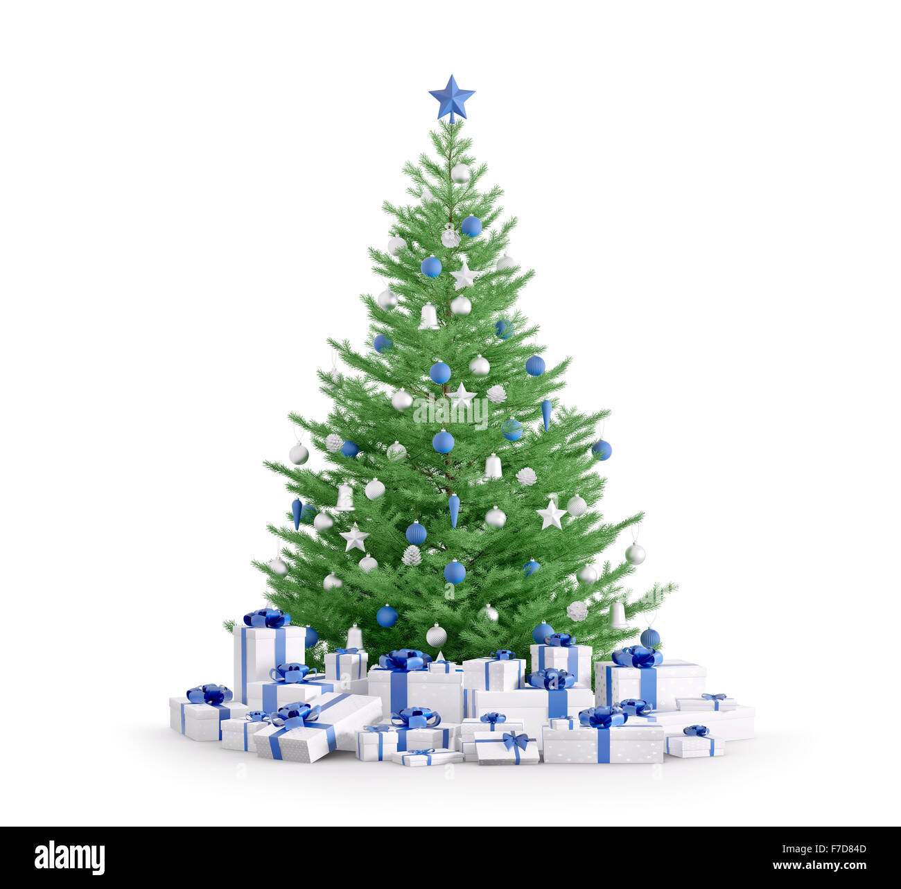 christmas tree with blue silver baubles gifts isolated over white 3d render - Blue And Silver Christmas Tree