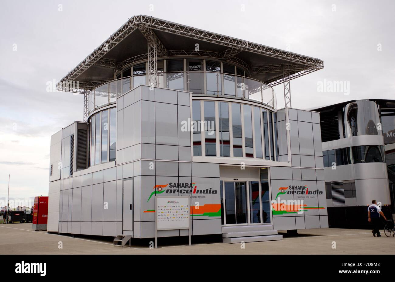 The Sahara Force India motorhome in the Paddock at Silverstone circuit. - Stock Image