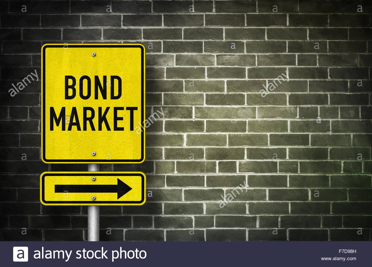 Bond Market - road sign illustration - Stock Image