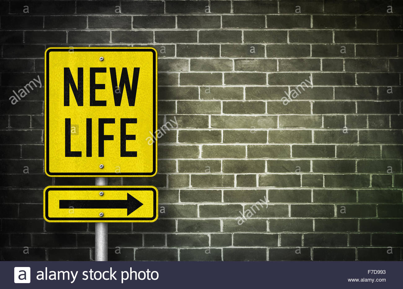 New Life - road sign illustration - Stock Image