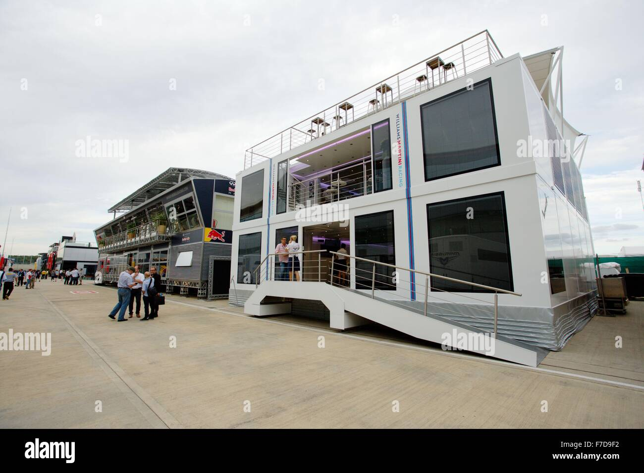 The Williams Martini Racing motorhome in the Paddock at Silverstone circuit. The motorhome's first outing - Stock Image