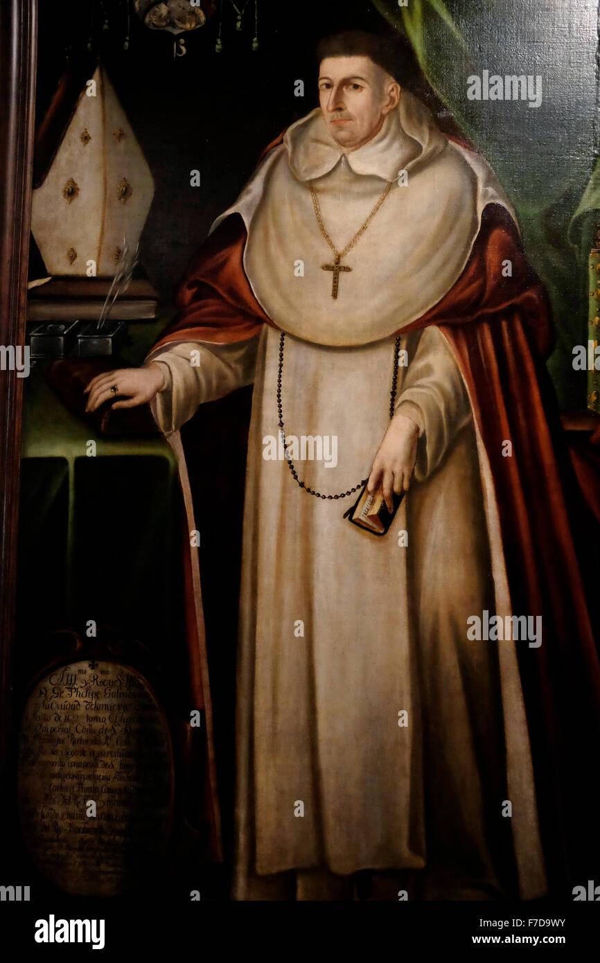 Portrait of Archbishop Fray Felipe Galindo Chavez y Pineda - Attributed to Diego de Cuentas  - Guadalajara, Mexico - Stock Image