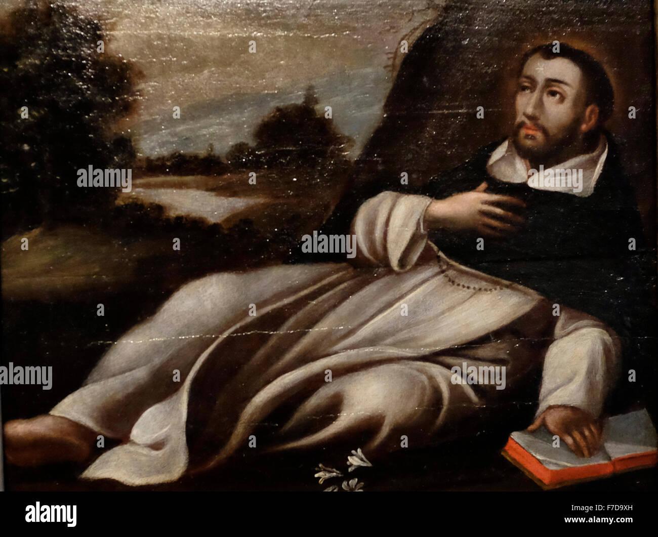 Death of Saint Dominic - Gregorio Vasquez de Arce y Ceballos - 1695 Columbia - Stock Image